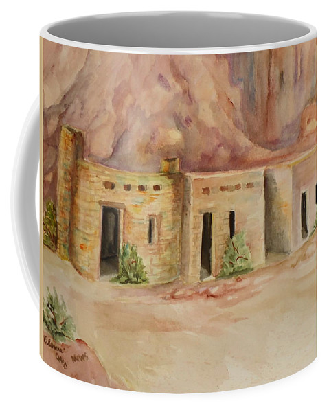 Oldest Man Made Structures In The Valley Of Fire Coffee Mug featuring the painting Valley Of Fire Cabins by Charme Curtin
