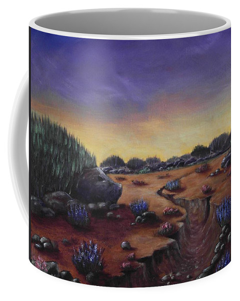Hedgehog Coffee Mug featuring the painting Valley Of The Hedgehogs by Anastasiya Malakhova