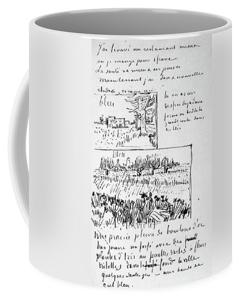 1888 Coffee Mug featuring the painting Van Gogh Letter, 1888 by Granger