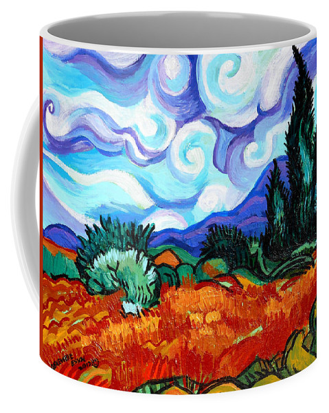 Vincent Van Gogh Coffee Mug featuring the painting Van Goghs Wheat Field With Cypress by Genevieve Esson