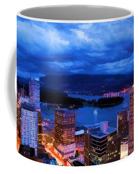 Vancouver At Night Coffee Mug featuring the photograph Vancouver At Night by Jordan Blackstone