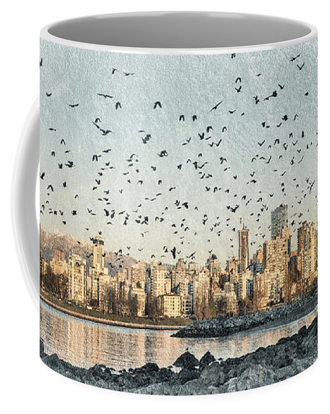 Kitsilano Beach Vancouver Coffee Mug featuring the photograph Vancouver Skyline With Crows by Peter v Quenter