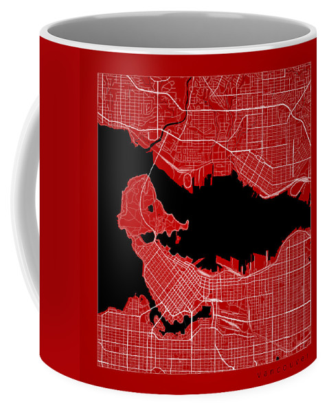 Road Map Coffee Mug featuring the digital art Vancouver Street Map - Vancouver Canada Road Map Art On Color by Jurq Studio