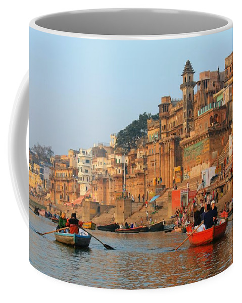 Hindu Pilgrim Coffee Mug featuring the photograph Varanasi From The Ganges River by Amanda Stadther