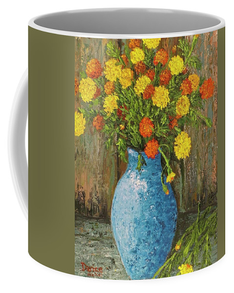 Impressionistic Coffee Mug featuring the painting Vase Of Marigolds by Darice Machel McGuire