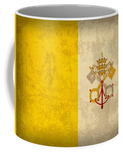 Vatican Coffee Mug featuring the mixed media Vatican City Flag Vintage Distressed Finish by Design Turnpike