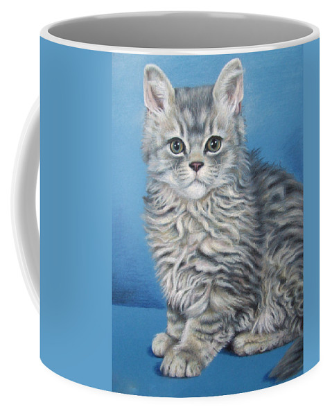 Cat Coffee Mug featuring the drawing Velvet Kitten by Nicole Zeug