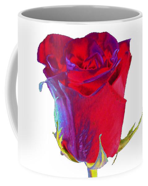 Velvet Coffee Mug featuring the digital art Velvet Rose Bud 2 by Carol Lynch