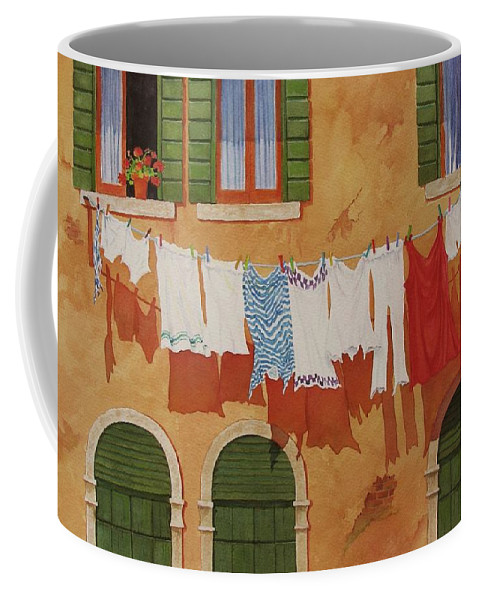 Venice Coffee Mug featuring the painting Venetian Washday by Mary Ellen Mueller Legault