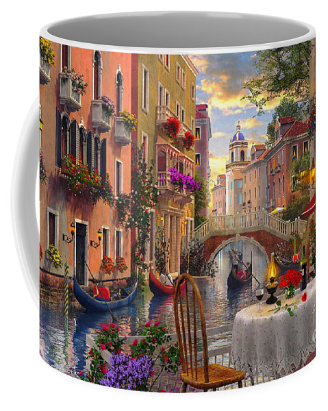 Dominic Davison Coffee Mug featuring the digital art Venice Al Fresco by MGL Meiklejohn Graphics Licensing