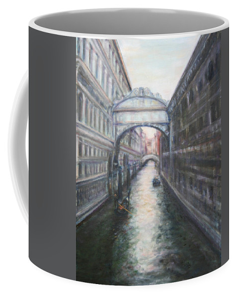 Boat Coffee Mug featuring the painting Venice Bridge Of Sighs - Original Oil Painting by Quin Sweetman