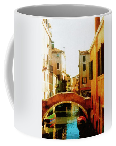 Venice Coffee Mug featuring the photograph Venice Italy Canal With Boats And Laundry by Michelle Calkins