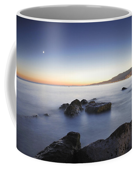 Pink Coffee Mug featuring the photograph Venus And The Moon Over The Mediterranean Sea by Guido Montanes Castillo