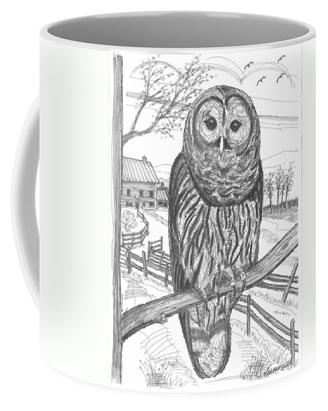Barred Owl Coffee Mug featuring the drawing Vermont Barred Owl by Richard Wambach
