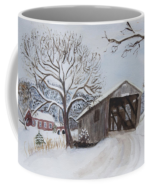 Vermont Coffee Mug featuring the painting Vermont Covered Bridge In Winter by Donna Walsh