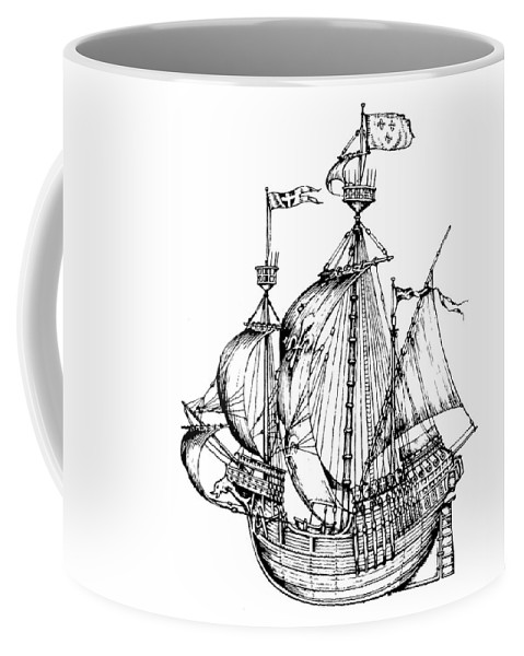 16th Century Coffee Mug featuring the drawing Verrazzano's Ship by Granger