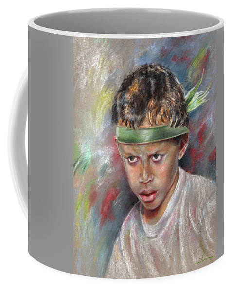 Travel Coffee Mug featuring the painting Very Young Maori Warrior From Tahiti by Miki De Goodaboom