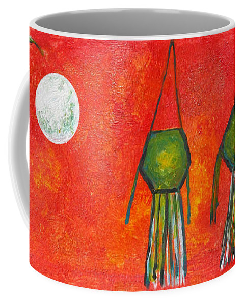 Vesak Coffee Mug featuring the painting Vesak Lanterns by Nirdesha Munasinghe