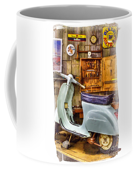 Vespa_scooter Coffee Mug featuring the photograph Vespa Scooter by Heiko Koehrer-Wagner