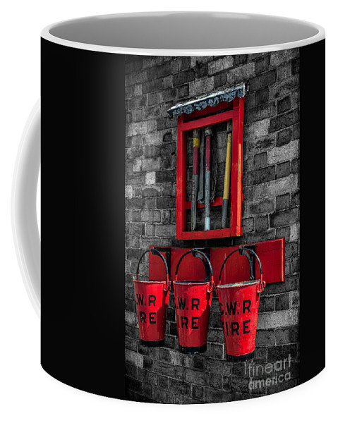 British Coffee Mug featuring the photograph Victorian Fire Buckets by Adrian Evans