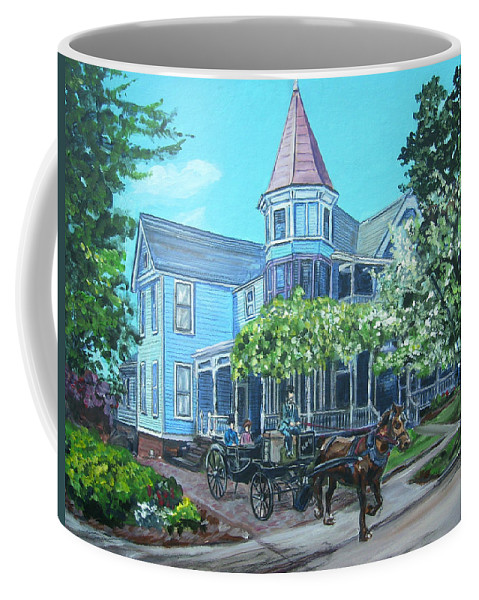Victorian Coffee Mug featuring the painting Victorian Greenville by Bryan Bustard