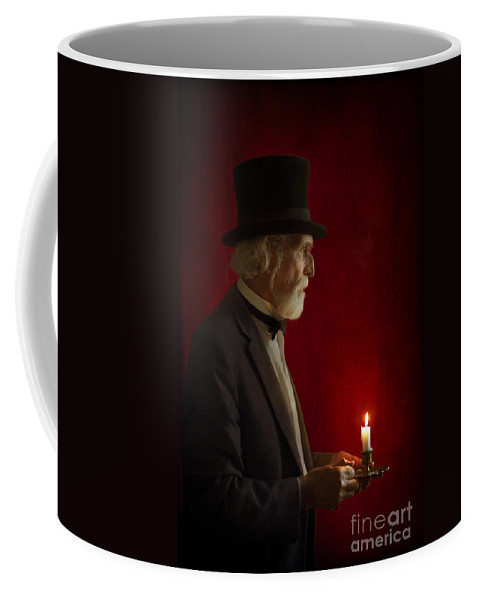 Victorian Coffee Mug featuring the photograph Victorian Man With Top Hat By Candle Light by Lee Avison