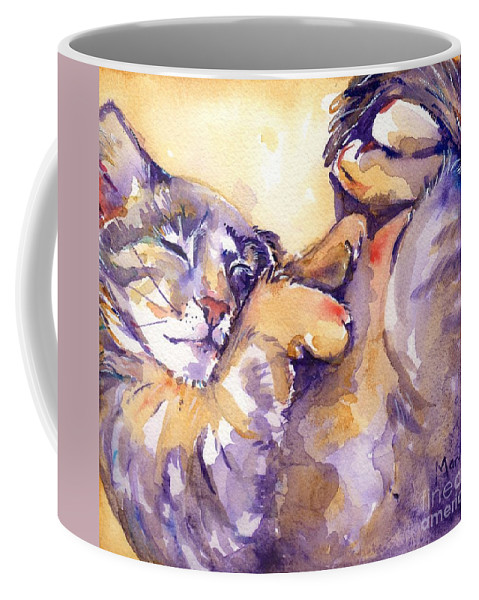 Feline Art Coffee Mug featuring the painting Vida by Maria's Watercolor