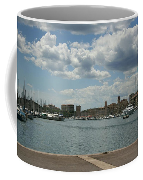 Harbor Coffee Mug featuring the photograph Vieux Port View Marseille by Christiane Schulze Art And Photography