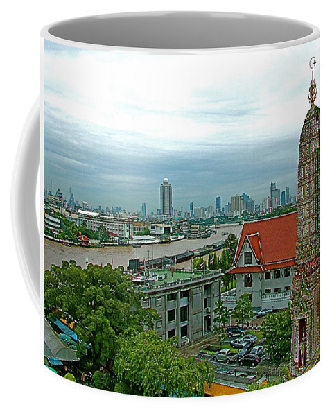 View From Temple Of The Dawn Coffee Mug featuring the photograph View From Temple Of The Dawn-wat Arun In Bangkok-thailand by Ruth Hager