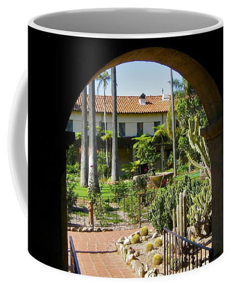 Mission Coffee Mug featuring the photograph View Of Santa Barbara Mission Courtyard by Denise Mazzocco
