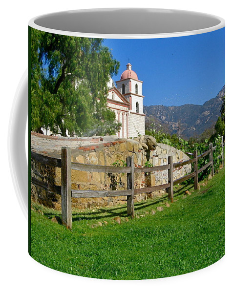 Mission Coffee Mug featuring the photograph View Of Santa Barbara Mission by Denise Mazzocco