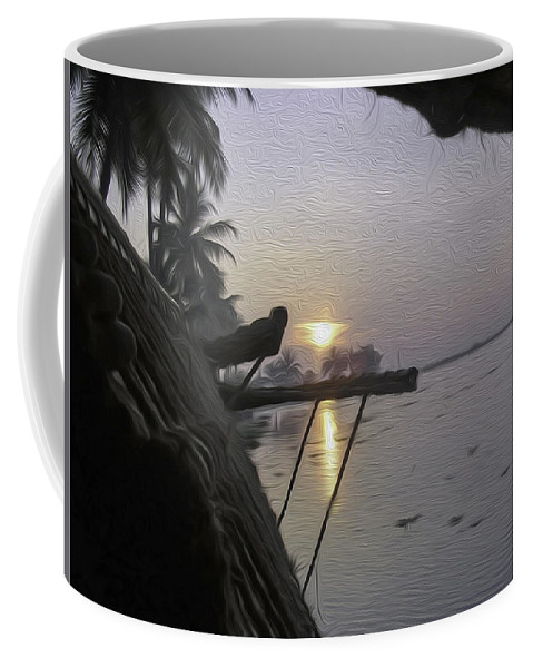Alleppey Coffee Mug featuring the digital art View Of Sunrise From The Window Of A Houseboat by Ashish Agarwal