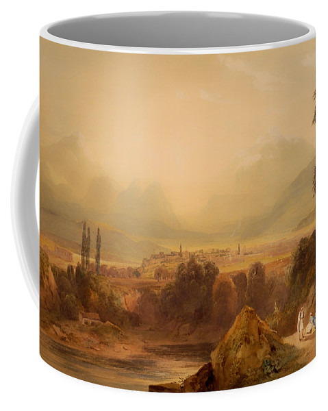 Painting Coffee Mug featuring the painting View Of Thebes by Mountain Dreams