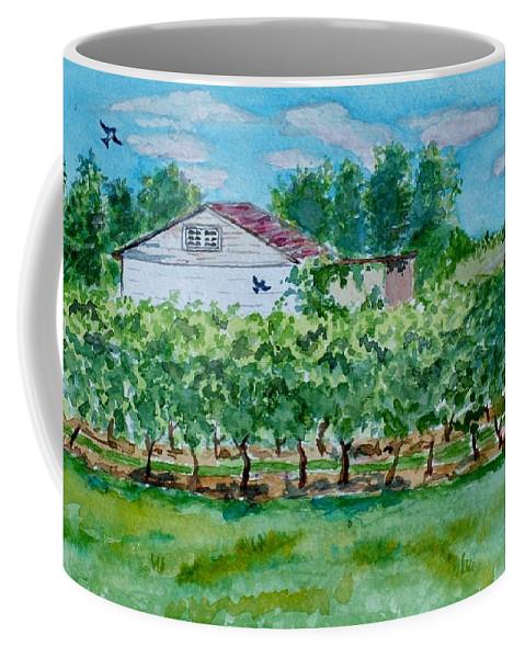 Vineyard Coffee Mug featuring the painting Vineyard Of Ontario 2 by Jeannie Allerton