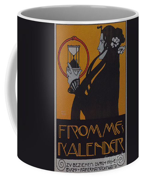 Vintage Coffee Mug featuring the digital art Vintage Art Nouveau Poster by R Muirhead Art