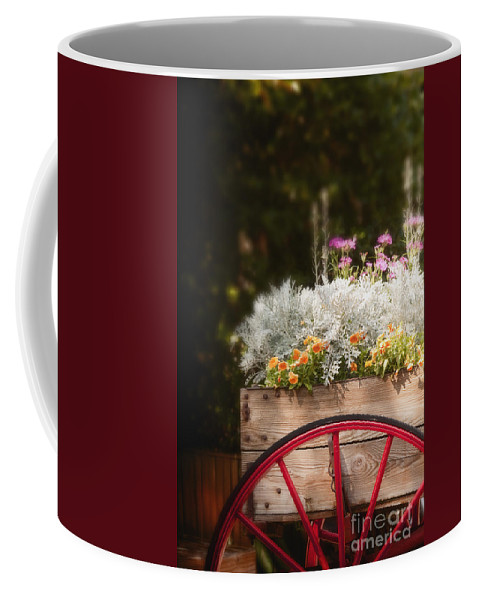 Flowers; Bright; Lovely; Colorful; Plants; Beautiful; Orange; Pink; White; Green; Cart; Nature; Wooden; Wheel; Red; Wood; For Sale; Peddler; Outside; Outdoors; Decorative; Country Coffee Mug featuring the photograph Vintage Beauties For Sale by Margie Hurwich