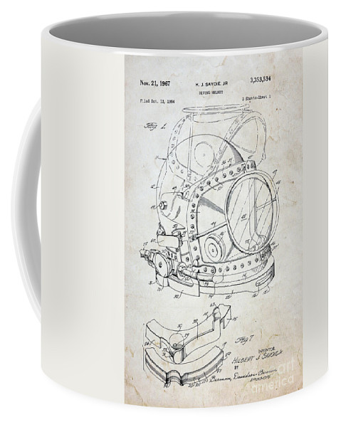 Vintage dive helmet blueprint coffee mug for sale by paul ward front right view malvernweather Choice Image