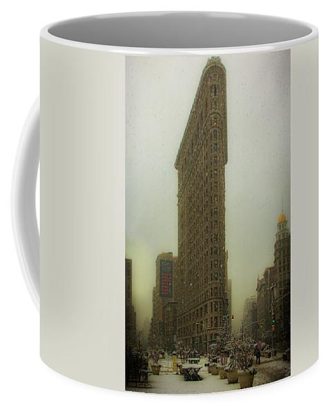 Flatiron Coffee Mug featuring the photograph Vintage Flatiron In Winter by Chris Lord