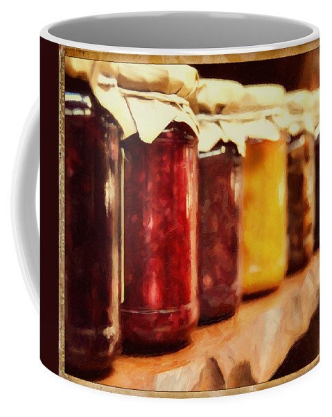 Vintage Coffee Mug featuring the photograph Vintage Fruit And Vegetable Preserves I by Georgiana Romanovna