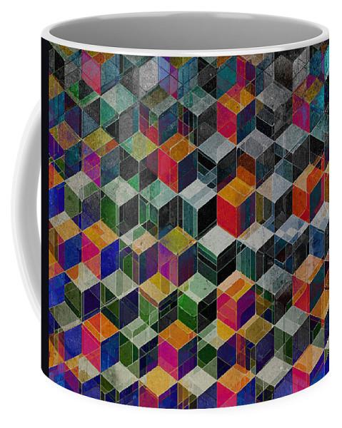 Vintage Coffee Mug featuring the digital art Vintage Geometric Cubes by Phil Perkins