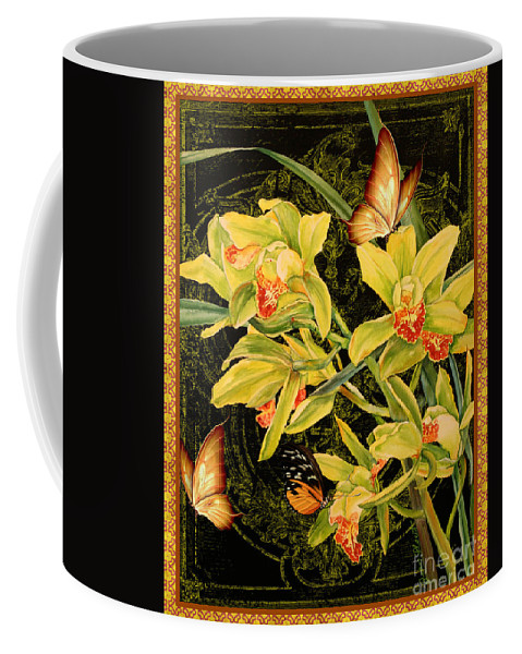 Butterfly Coffee Mug featuring the mixed media Vintage Iris And Butterflies by Jean Plout