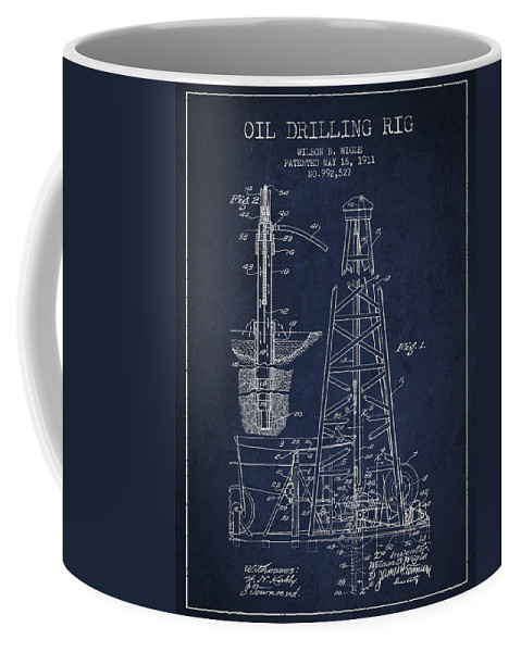 Oil Coffee Mug featuring the digital art Vintage Oil Drilling Rig Patent From 1911 by Aged Pixel