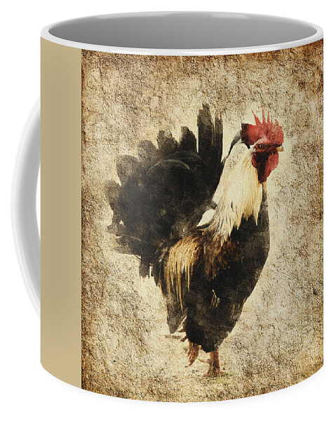 Vintage Coffee Mug featuring the mixed media Vintage Rooster by Georgiana Romanovna