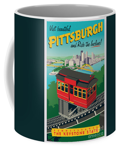 Pittsburgh Coffee Mug featuring the digital art Pittsburgh Poster - Incline by Jim Zahniser