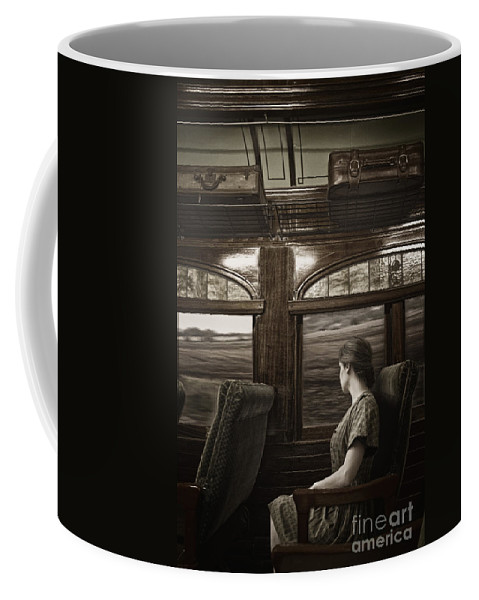 Caucasian; Woman; Female; Lady; Wife; Young; Train; Transport; Transportation; Interior; Pullman; Car; Seat; Luxury; Window; Luggage; Travel; Traveling; Vacation; Movement; Land; View; Looking; Side; Profile; 1930s; 1940s; Vintage Coffee Mug featuring the photograph Vintage Travels by Margie Hurwich