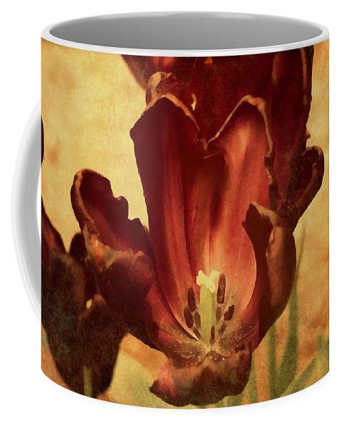 Vintage Coffee Mug featuring the mixed media Vintage Tulips by Georgiana Romanovna