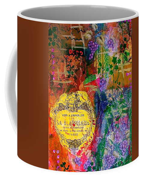 Collage Coffee Mug featuring the mixed media Vintner Label by Bellesouth Studio
