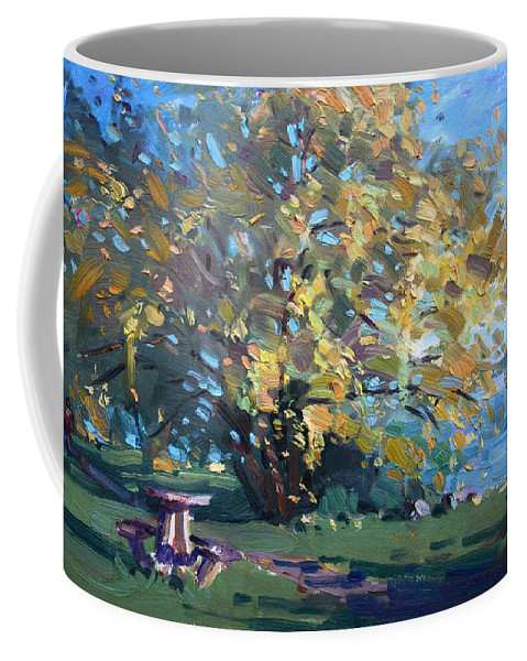 Fall Coffee Mug featuring the painting Viola Walking In The Park by Ylli Haruni