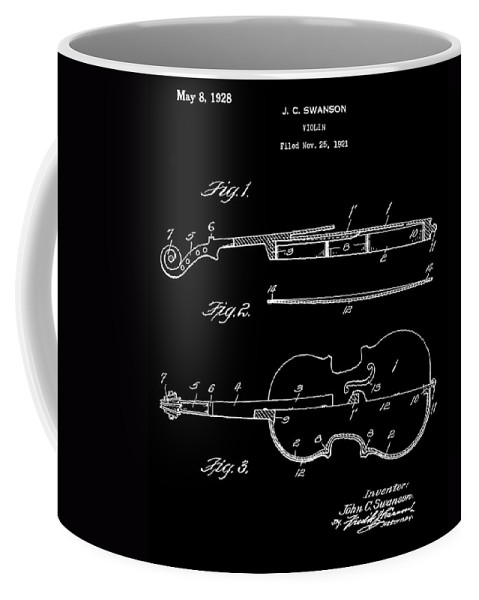 Antique Violin Patent Coffee Mug featuring the digital art Violin by Dan Sproul