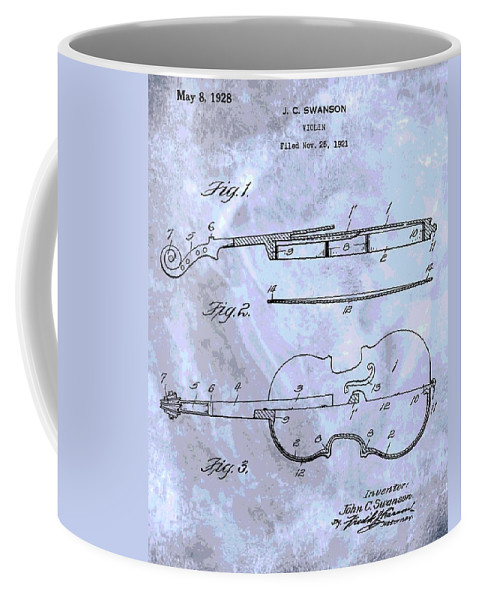 Antique Violin Patent Coffee Mug featuring the digital art Violin Patent Poster by Dan Sproul